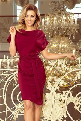 ROXI sukienka z asymetryczną spódnicą i paskiem - BORDOWA