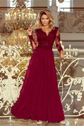 SARA długa suknia z haftowanym dekoltem i długim rękawkiem - BORDOWA