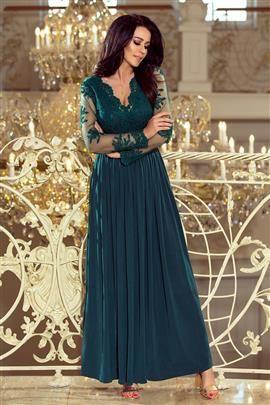 SARA długa suknia z haftowanym dekoltem i długim rękawkiem - ZIELEŃ BUTELKOWA