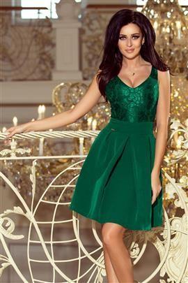 SIMPLE Sukienka z koronkowym dekoltem i kontrafałdami - ZIELEŃ BUTELKOWA
