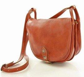 Skórzana torebka włoska na długim pasku MAZZINI - Alessandra Classico camel