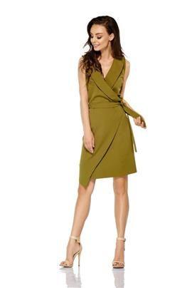 Sukienka kopertowa wiązana w pasie bez rękawów khaki