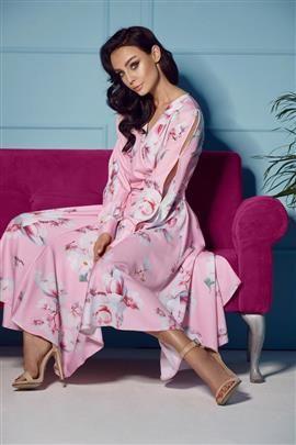 Sukienka z kopertowym dekoltem midi pudrowy róż