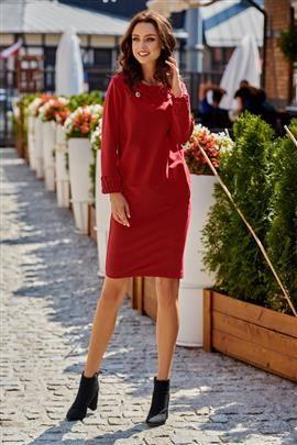 Sukienka z plecionką bordo