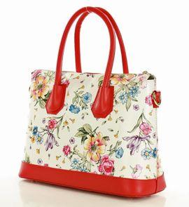 Torebka włoska kuferek aktówka ze skóry naturalnej MAZZINI - Amanda kwiaty czerwony