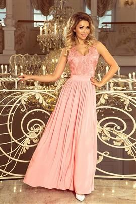 WIKTORIA  długa suknia bez rękawków z haftowanym dekoltem - PASTELOWY RÓŻ